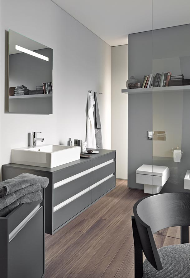elegant grey areas for the bathroom by duravit. Black Bedroom Furniture Sets. Home Design Ideas